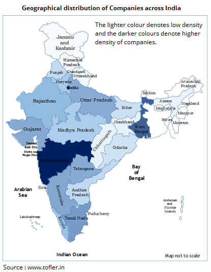 Geographical distribution of all Companies in India - Heat map (1)