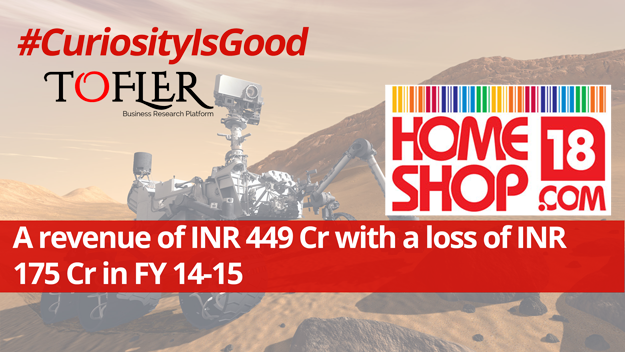 HomeShop 18 reported a revenue of INR 449 Cr with a loss of INR 175 Cr in FY 14-15 | Tofler