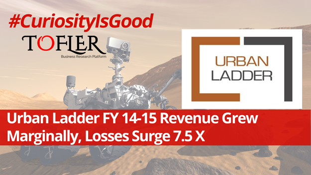 Urban Ladder revenue and loss figues for FY 14-15 reported by Tofler